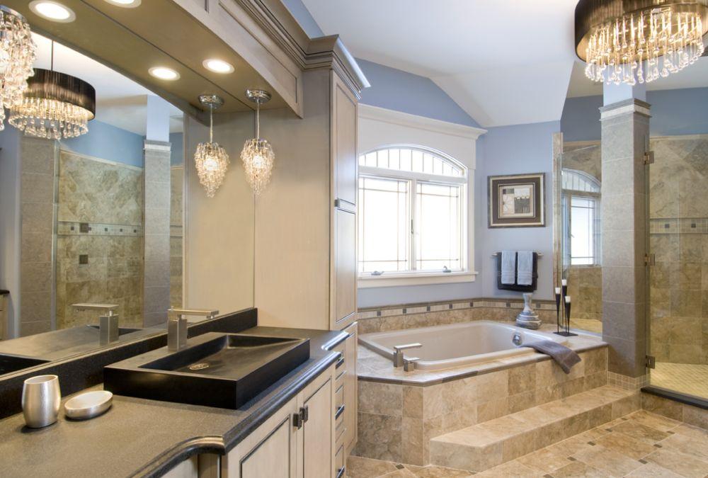 Custom tub deck 3 gerritystone marble natural stone for Custom master bath
